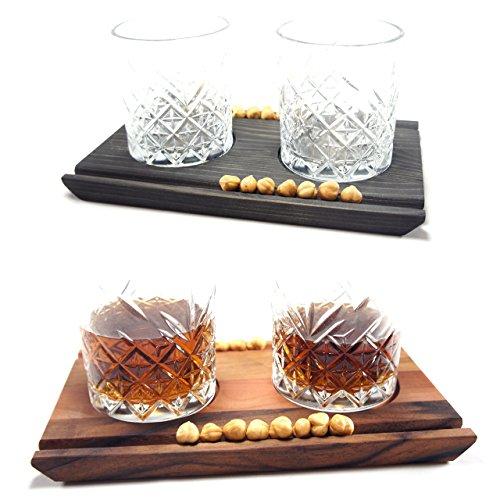 Gläser Servierbrett in 3 Größen - Cocktail-Whiskey-Gin Servierbrett mit Gläsern und Zigarrenhalter bzw. Nusshalter - Handarbeit Made in Germany by FloMi-Holzgestaltung (Drei Cocktail-gläser)
