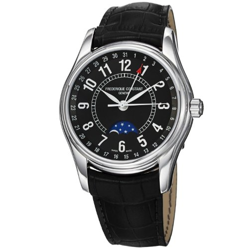 Frederique Constant Moontimer Automatic Steel Mens Strap Watch Calendar FC-330B6B6