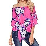 Blusen Damen T-Shirt Schulterfrei Pullover 3/4 Glocke Druckhülse Shirts Krawatte Knoten T Shirt Langarmshirt Tops Bluse,ABsoar