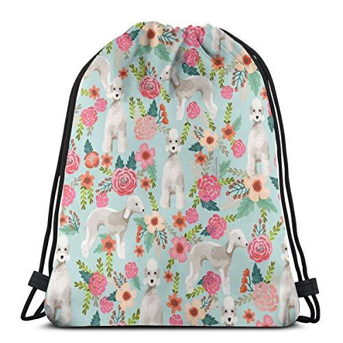 vintage cap Bedlington Terrier Florals Dog Design - Light Blue_666 3D Print Drawstring Backpack Rucksack Shoulder Bags Gym Bag for Adult 16.9