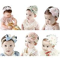 06ac8120f51e HBF 6 Pezzi di Fascia Bambina Accessori per Capelli Bambina Fascia Capelli  Neonata Elastica con Fiori Tessuto Pizzo