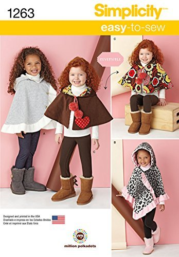 Simplicity Creative Patterns 1263 Child's Poncho and Reversible Cape, Size: A S-M-L by Simplicity Creative Patterns Reversible Poncho