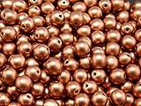50 pcs Checa presiona ronda cuentas de vidrio, tamaño 6 mm Crystal Bronze Vintage Copper