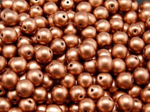 Round Beads 50 Stück Tschechische Glasperlen Gepresst Druck, Runde 6mm Crystal Bronze Vintage Copper -