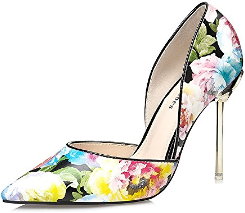 LGK&FA Fino Y Delgado Mujer Zapatos con Tacón Alto Super Superficialmente Superficialmente Las Flores Cortadas...