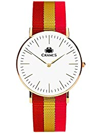Reloj Crancs - Reloj de hombre con correa de nylon con la bandera de España