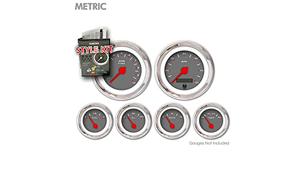 Aurora Instruments 5004 Pegged Dark Gray Metric Style Kit Red Modern Needles, Chrome Trim Rings