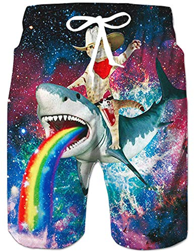 Rave on Friday Badeshorts für Männer Hawaii Hai und Katze Badehose 3D Druck Bunt Schwimmhose Neuheit Sommer Beachshorts Schnell Trocknend Shorts L