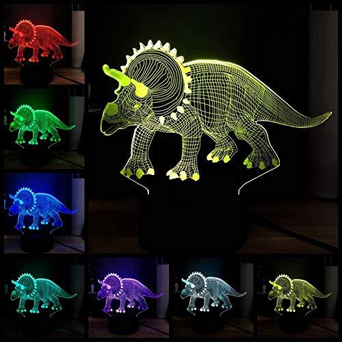 Fett Triceratops Dinosaurier Jurassic Park Stil 3d Roman 7 Farbe ändern Atmosphäre Tischlampe Holiday Boy Geschenk