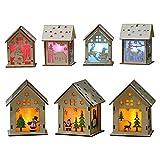 Acecoree Decoración de Madera Mini Casa de LED Colgante para Fiesta Navidad Partido etc.