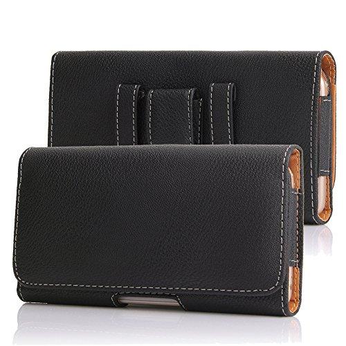 DAYNEW für 5.5 Zoll Universal-PU-Leder Hüfttasche Handytasche Tasche Smartphone Samsung Galaxy J4/ A6+/J7 Duo/ J7 Prime 2/J7 Pro-Schwarz
