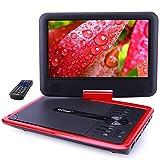 ieGeek Lecteur DVD Portable 11.5' avec Écran Pivotant, Batterie Rechargeable de 5 Heures Jouer, Supporte Carte SD et Chargeur de Voiture Compatible avec MP3 / MP4 / AVI / RMVB / JPEG / TXT – Rouge