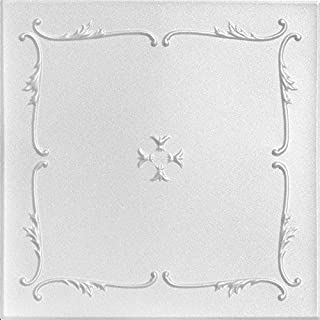 A la Maison Ceilings 812 Spring Buds - Styrofoam Ceiling Tile (Package of 8 Tiles), Plain White