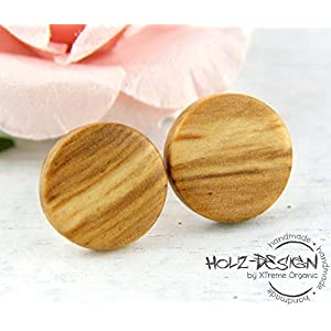 Holz Ohrstecker Ø11mm Olivenholz hellbraun Wood earrings Dünne Fake Plugs Ohrringe hölzerne Mini Ohrringe kleine runde Holzohrstecker individualisierbar Illusion