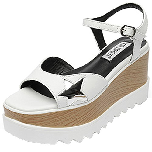 Oasap Women's Open Toe Star Buckle Wedge Platform Sandals White