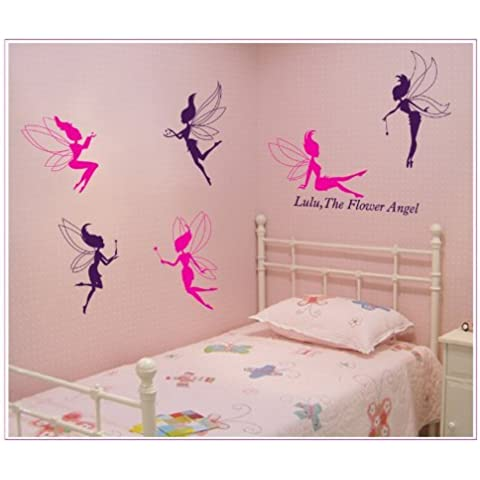 onehouse Lulu Cita Seis, Rosa y Morado de ángel de la flor Hada DIY Wall Decal Nursery Room Decor Mural