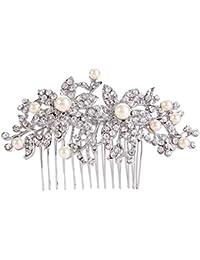 EVER FAITH® Plata-tono cristalino austríaco Crema Perla simulada agraciado de la flor de Redbud pelo peine claro N07913-1