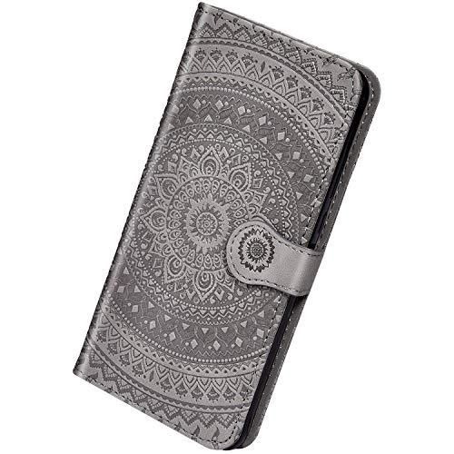 Herbests Kompatibel mit Samsung Galaxy J6 Plus 2018 Leder Hülle Schutzhülle Handyhüllen Vintage Sonnenblume Muster Flip Brieftasche Wallet Tasche Ständer Klapphülle Etui Case Magnetverschluss,Grau -