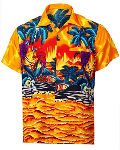 Virgin Crafts Mens Hawaiian Shirt Button Down gelbe Papagei Print Casual Beach Party Shirts -