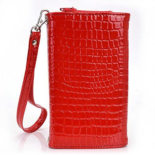 Kroo Croco Étui portefeuille universel pour smartphone avec bracelet pour Acer Liquid Jade/E3/E2Mobile noir - noir rouge - rouge
