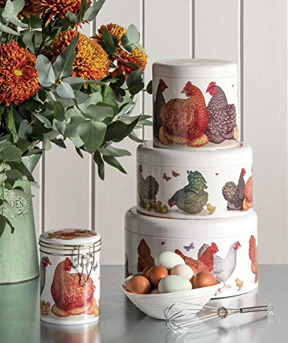 Vanessa Lubach Round Biscuit Cookie Tin barile in gallina pollo design contenitore ermetico Framhouse paese Made in UK