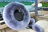 Wolle Auto Lenkradhülle, AOLVO 100% australischer Wolle natur Schaffell Pure Fahrzeug Luxuriös weichem rutschfestem Winter Warm Rad Kissen Displayschutzfolie für Frauen/Mädchen/Damen 1Set 3pcs blau