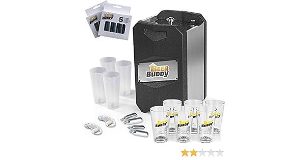 Beer Buddy Neue Version 2019 Bierzapfanlage Party-Set 43-TLG 4X Mehrwegbecher 6X Gl/äser 20x Magnete 12x CO2-Kapseln Schwarz