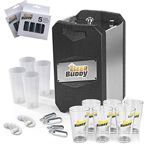 Beer Buddy Neue Version 2019 Bierzapfanlage Party-Set 43-TLG. 4X Mehrwegbecher 6X Gläser 20x Magnete 12x CO2-Kapseln, Schwarz