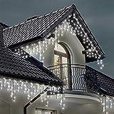 Lichterkette Eiszapfen 220 LED für Innen und Außen,helleweiße, Länge 7.5m, GS Geprüft, Optional mit 8 Leuchtmodi/Memory/ Timer, NetzBetriebene grünes Kabel -2 Jahre Garantie