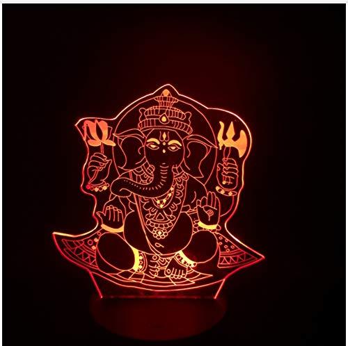 Buddha 3D Nachtlicht Visuelle 7 Farben Illusion Tisch Schreibtischlampe Geburtstag Urlaub Geschenk Indien Lord Elephant Props Touch Schalter