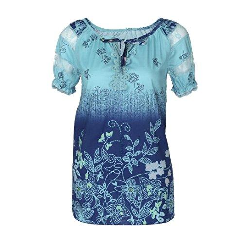 OverDose Damen Blumen Spitze Tops Frauen Kurzarm V-Ausschnitt Spitze Gedruckte Lose T-Shirt Bluse Oberteile Tees Shirt(Blue,5XL)