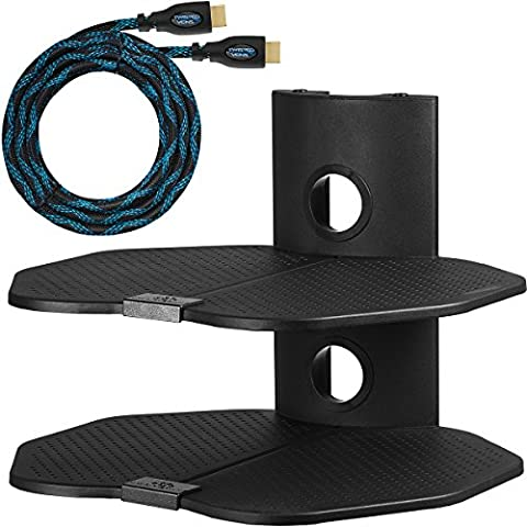 """Cheetah Mounts AS2B Doppia Mensola di Supporto da Parete con Due Ripiani da cm 45,7 x cm 40,6; Scaffale da Muro adatto a tutte le TV LCD, LED, Plasma e Schermo Piatto, per Organizzazione dei Cavi di Ricevitori TV, Satellite, Lettori DVD, Video-giochi, Sintonizzatori e Altri Sistemi Elettronici; Comprende Cavo HDMI """"Twisted Veins"""" da m 4,5."""