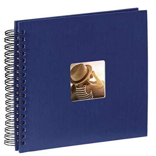 Hama Fotoalbum (28 x 24 cm, 50 schwarze Seiten, 25 Blatt, mit Ausschnitt für Bildeinschub) blau