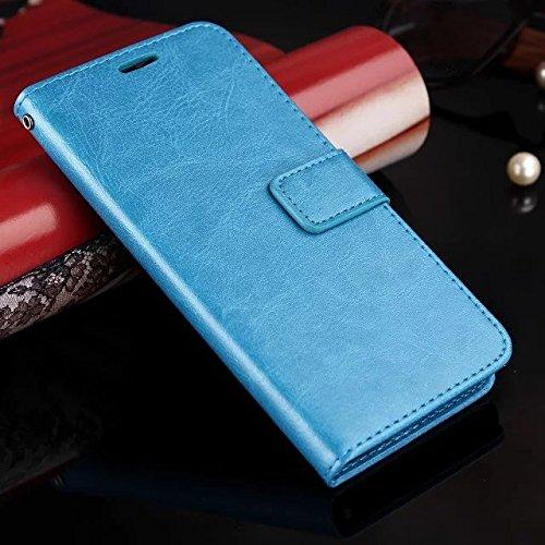 Wkae Case Cover caso di Huawei P8 LITE, Cuoio folio modello di colore solido caso di stile di disegno del raccoglitore magnetico della copertura di vibrazione della copertura della cassa standup per H Blue
