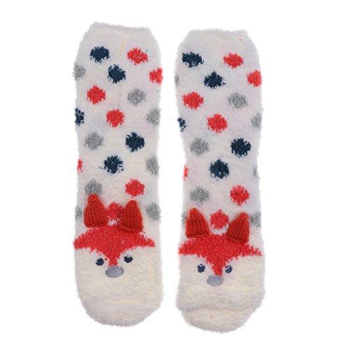 Homyl Damen Hütten Hausschuhe Hüttensocken Socken Kuschelsocken Fleece Socken Plüsch Flauschige Socken Wintersocken - Fuchs, wie beschrieben