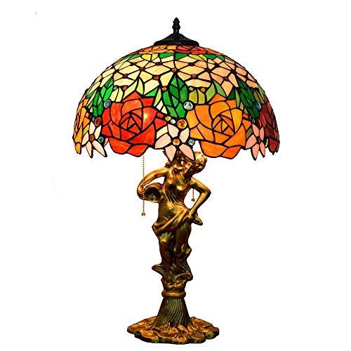 ZYY Tiffany stil tischlampen led rote rose runde gemalt licht retro mediterran transluzent glas lampenschirm metall zink-legierung lampenhalter wohnzimmer esszimmer balkon schlafzimmer / e27 * 3 / 40w