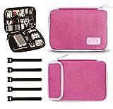 Jamber Cable Organizer Bag Bolsa para Accesorios de electrónica Universal Bolsa de Almacenamiento Digital de Nylon para Cable, Cargador, iPad, iPad Air, Adaptador, Mouse, con 5X Bridas, Rosa roja
