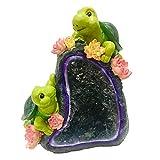 B Blesiya Solarfigur Tierfigur Dekofigur für Garten Gartenleuchte Gartenlampe Gartendeko - Hund - Liebpaar Schildkröten B