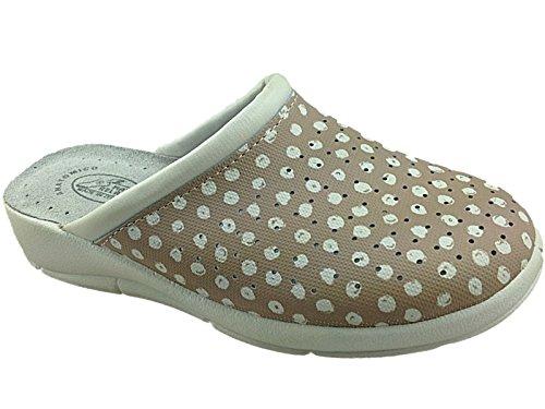 Foster Footwear, Max Relax, zoccoli da donna Beige/Polka Dot