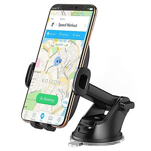 Cocoda Supporto Smartphone per Auto, 360 Gradi di Rotazione Estensibile Porta Cellulare Auto con Braccio Regolabile, Supporto per Parabrezza con sblocco One-Button per iPhone, Samsung, ECC. (Nero)