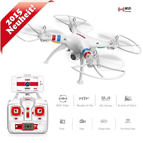 Quadrocopter FPV Drohne Quadcopter mit HD Kamera Chief SYMA X8W RC WiFi Be FPV Videoübertragung 2MP Kamera UFO ferngesteuert 2,4 GHz RTF 4 Kanal Flugfertig