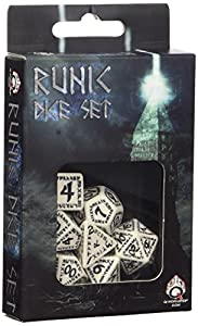 Q WORKSHOP Runic White & Black RPG Dice Set 7 Polyhedral Pieces