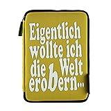 Funda con cremallera para libros electrónicos de 6 pulgadas (neopreno), diseño con texto en alemán, color amarillo