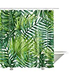 Best Leaf Curtains - QEES Anti-mildew Shower Curtain with Watercolor Banana Palm Review