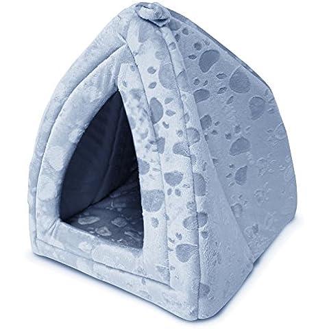 GALINDO - Cuccia a igloo per animali, cane e gatto, morbida e confortevole blu
