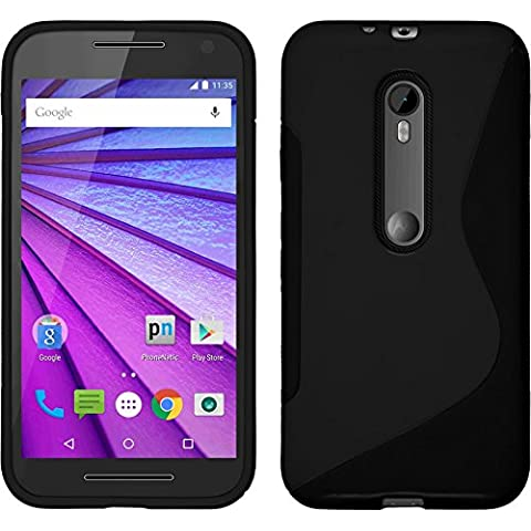 Funda de silicona para Motorola Moto G 2015 3. Generation - S-Style negro - Cover PhoneNatic Cubierta + protector de