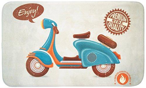 Wenko Vintage Scooter Alfombra Baño, Poliéster, Multicolor, 75x45x275 cm