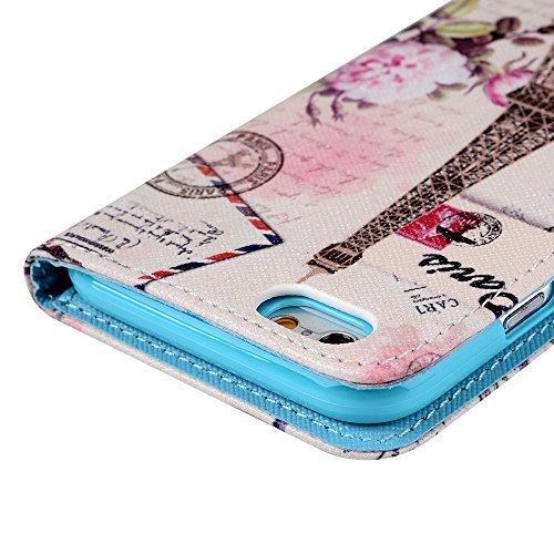 Mavis's Diary iPhone 6 4,7 Zoll PU Lederhülle Tasche Flipcase Kunstleder Schutzhülle Cover Schale Etui Magnetverschluss Standfunktion mit Cardslots Bumper Fall Case Bunt Schmetterling Eiffelturm Schmetterling Eiffelturm