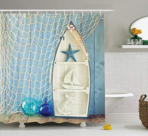 ABAKUHAUS Nautisch Duschvorhang, Marine Icons Seestern, aus Stoff inkl.12 Haken Digitaldruck Farbfest Langhaltig Bakterie Resistent, 175 x 220 cm, Blau Weiß