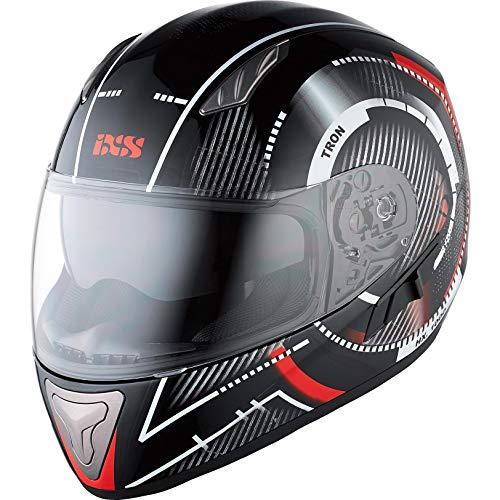 IXS Motorradhelm, Vollvisierhelm, Integralhelm X-Helm HX 1000 Tron Schwarz/Rot/Grau L, Unisex, Tourer, Ganzjährig, Thermoplast